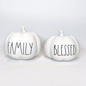 """Rae Dunn """"BLESSED"""" and """"FAMILY"""" White Pumpkins"""